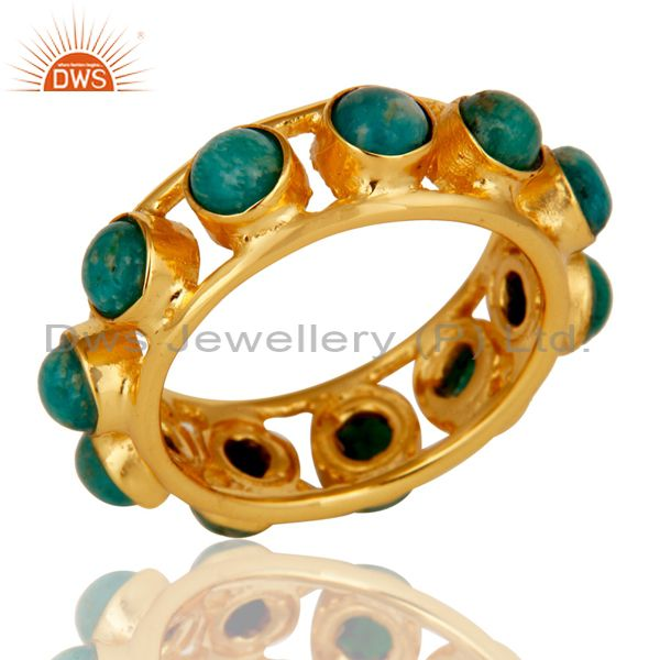 18k Gold Plated Traditional Round Cut Ring with Amazonite