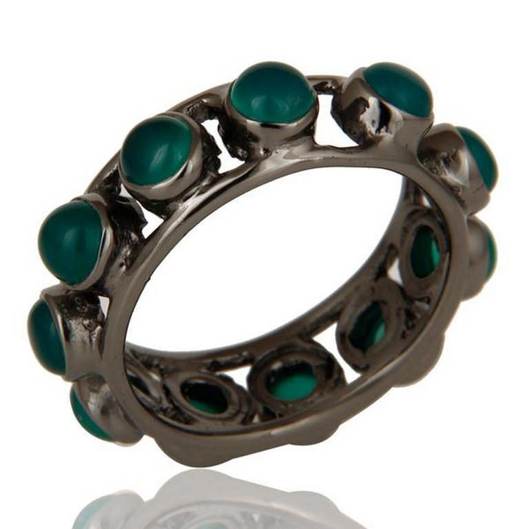 Black Oxidized Traditional Round Cut Brass Ring With Green Onyx