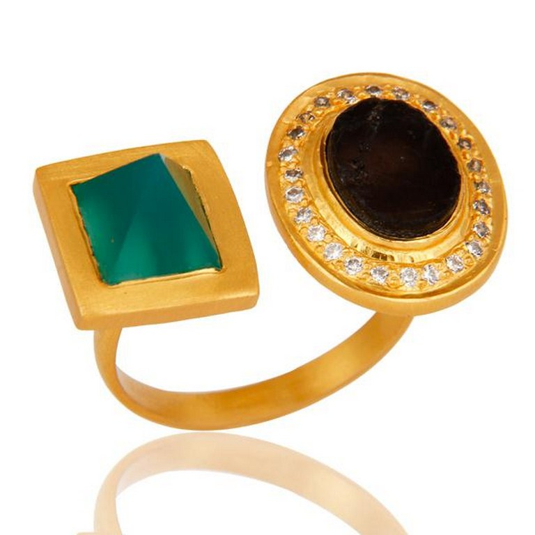 Green Onyx, White Zircon & Smokey Rough with 18k Gold Plated Brass Ring