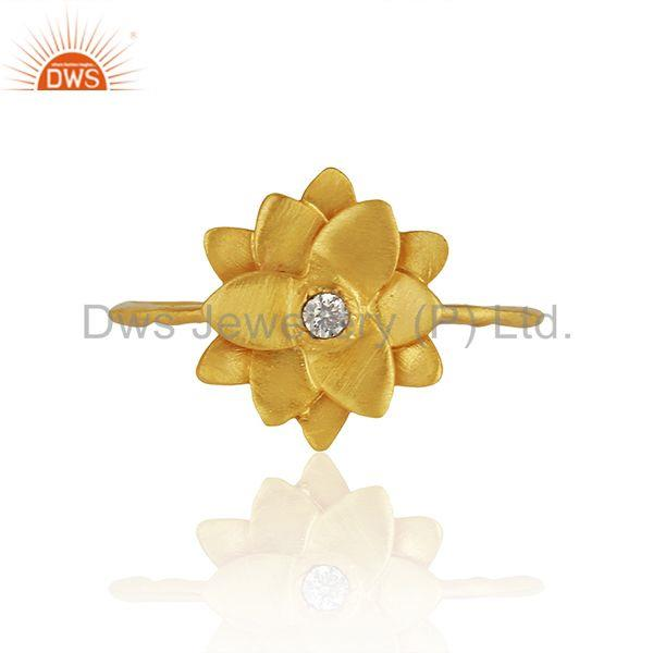 Traditional Handmade Flower Brass Flower Design Ring with 18k Gold Plated & CZ
