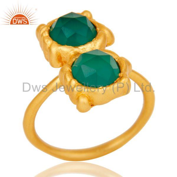 18k Gold Plated Green Onyx Chekered Stone Design Brass Ring