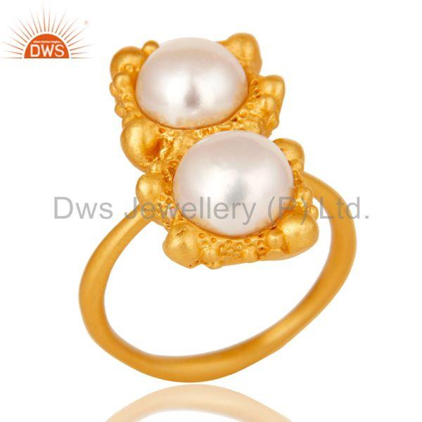 18k Gold Plated Natural Pearl Stone Design Brass Ring