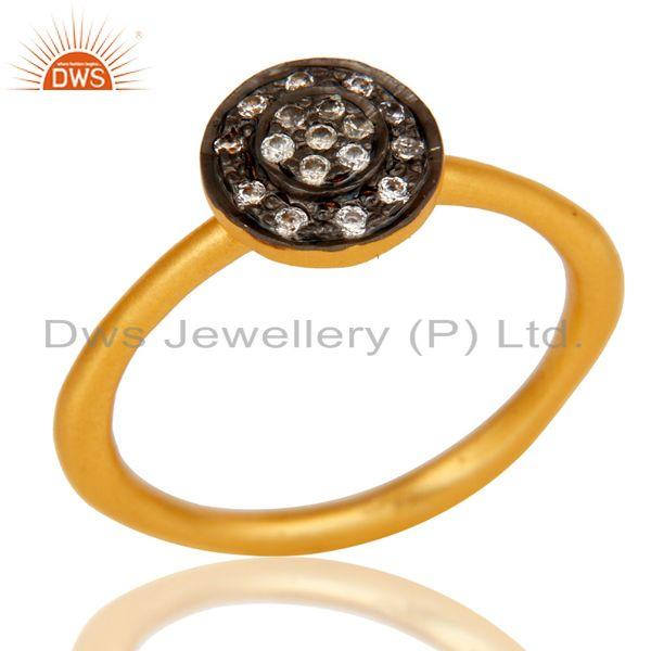 18k Gold Plated Traditional Handmade Engagament Brass Ring with White Zircon