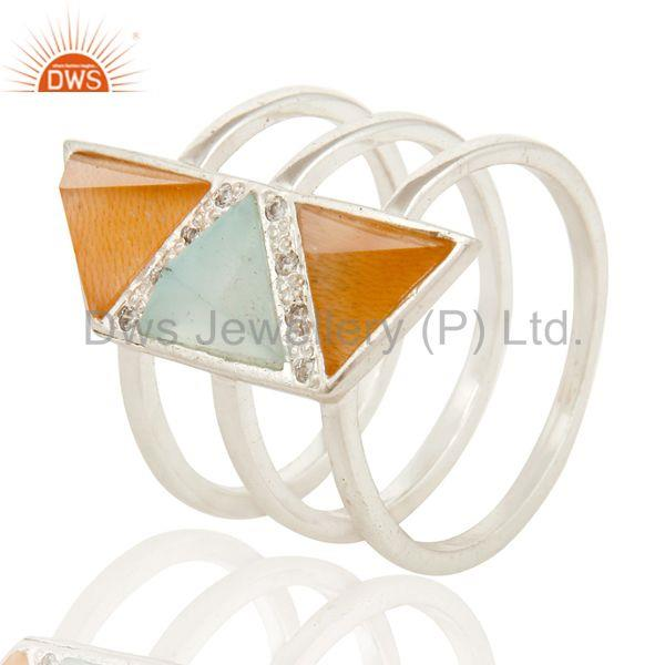 Solid Silver Plated 3 Set Of Brass Ring With Chalcedony, Peach Moonstone & CZ