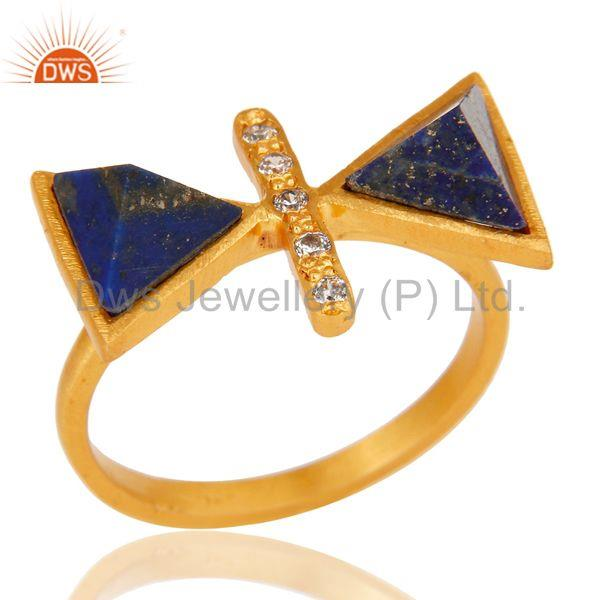 18k Gold Plated Fancy Brass Ring with Lapis & Cubic Zarconia