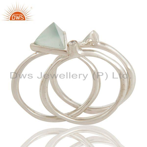 Aqua Chalcedony And Cz Studded Silver Plated 3 Set Stackable Ring
