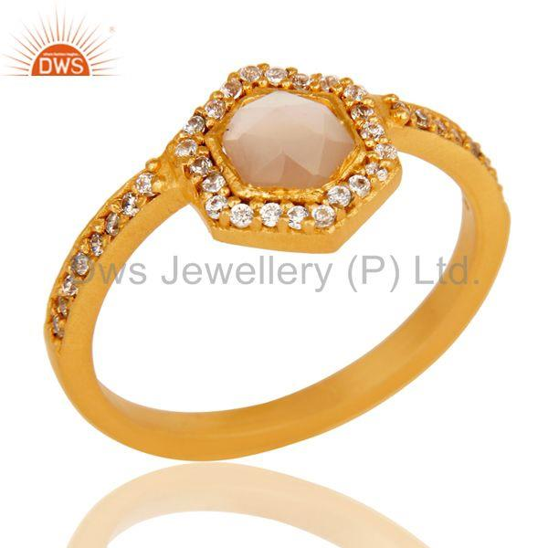 18k Gold Plated Little Wedding Design Brass Ring with Chalcedony & CZ