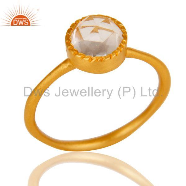 18k Gold Plated Little Anniversary Brass Ring with Crystal Quartz