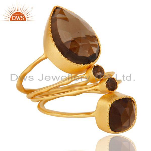 18L Gold Plated Handmade Smokey Topaz Rose Cut 4 Set Of Stackable Brass Ring