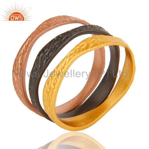 18k Gold, Oxidized & Rose Plated 3 Set Tradional Handmade Brass Band Ring