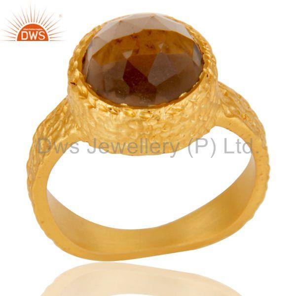 18k Yellow Gold Plated Fashion Dome Statement Brass Ring with Smokey Topaz