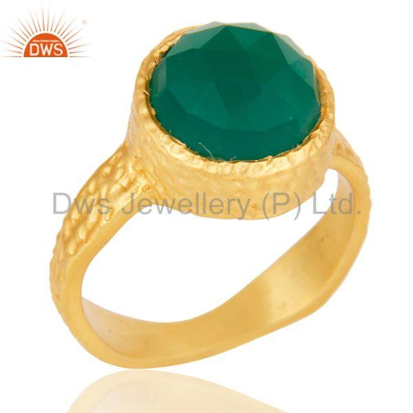 22k Yellow Gold Plated Handmade Faceted Green Onyx Statement Brass Ring