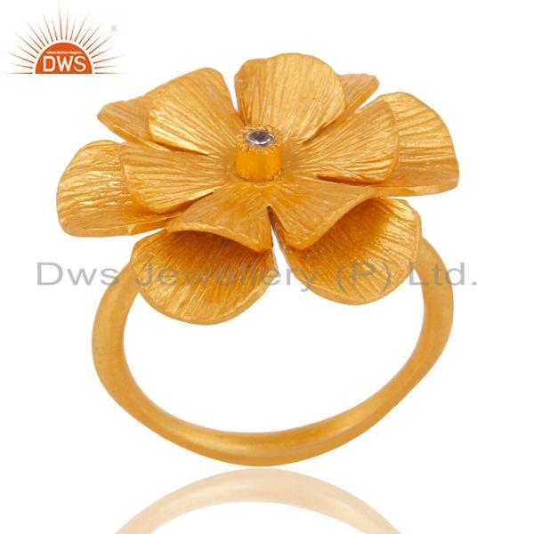 18K Yellow Gold Plated Traditional Handmade White Zirconia Cocktail Brass Ring