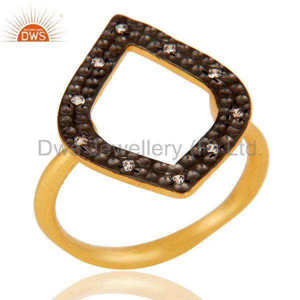 Traditional Handmade Art Deco Brass Ring With 18K Gold Plated & White Zirconia