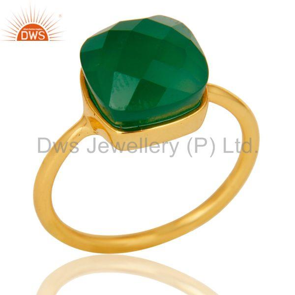 Green Onyx Studded Rose Gold Plated Statement Designer Fashion Ring