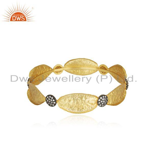 14K Yellow Gold Plated Sterling Silver Cubic Zirconia Fashion Bangle Bracelet