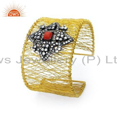 18K Yellow Gold Plated Sterling Silver Red Coral And CZ Fashion Cuff Bracelet