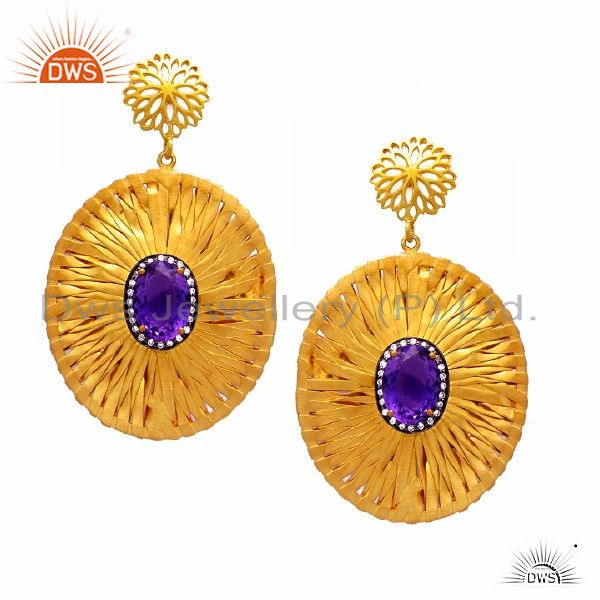 22K Yellow Gold Plated Sterling Silver Amethyst And CZ Fashion Dangle Earrings
