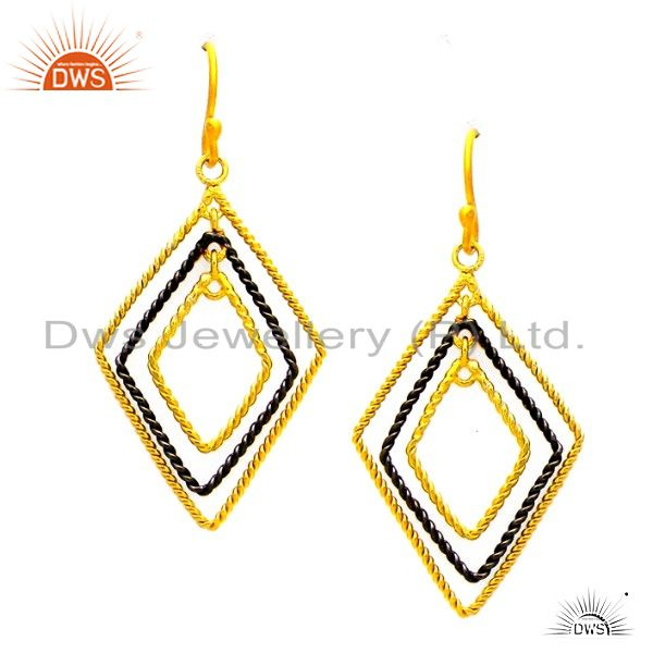 22K Yellow Gold Plated Sterling Silver Twisted Wire Designer Dangle Earrings