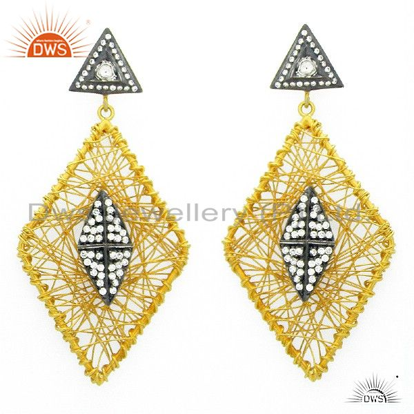 24K Yellow Gold Plated Sterling Silver Cubic Zirconia Wire Woven Dangle Earrings