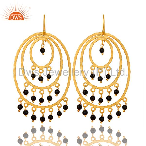 22K Yellow Gold Plated Sterling Silver Black Onyx Hammered Chandelier Earrings