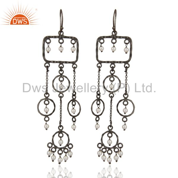 Rhodium Plated Natural Pearl Earring Crafted In Solid Sterling Silver