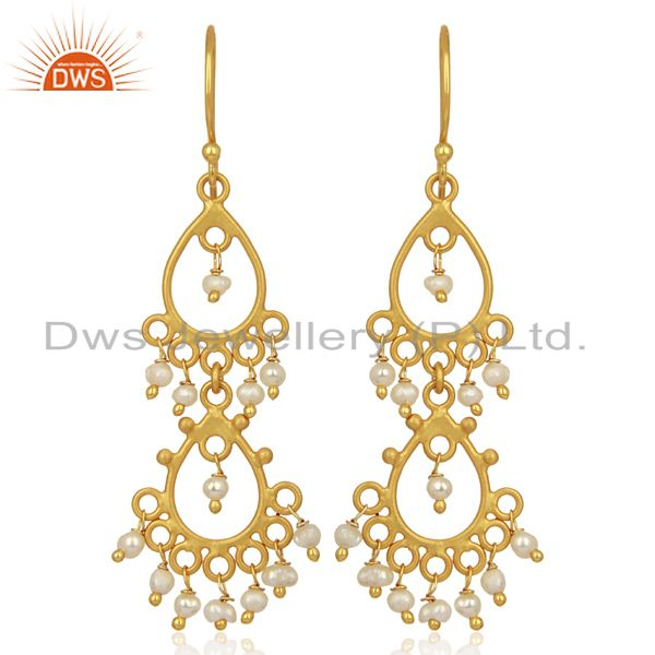 Pearl Beads 18K Yellow Gold Plated Sterling Silver Earrings Jewelry