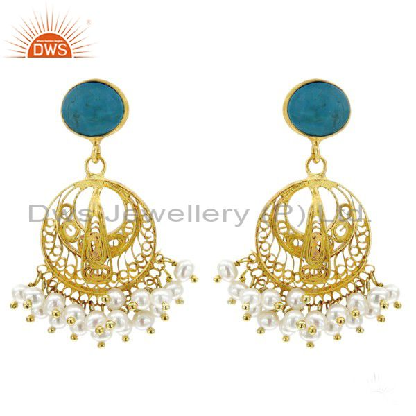 Handmade Designer Jewelry Sterling Silver Overlay 18k Gold Pearl Beads Earring