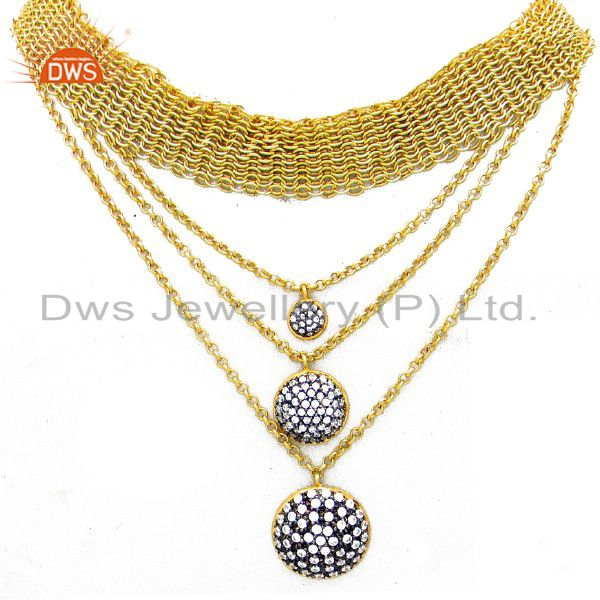 18K Yellow Gold Plated Sterling Silver Cubic Zirconia Multi Layer Necklace