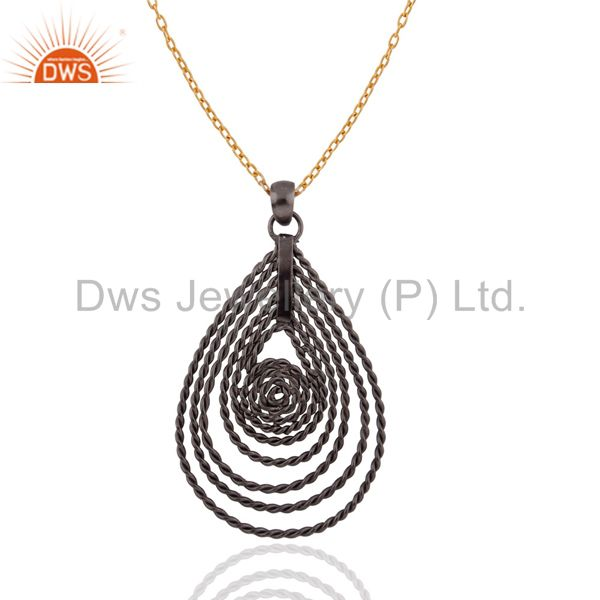 """Rhodium Plated 925 Sterling Silver Twisted Wire Designer Pendant With 16"""" Chain"""