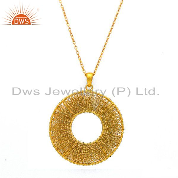 24K Yellow Gold Plated Sterling Silver Wire Woven Design Circle Pendant Necklace