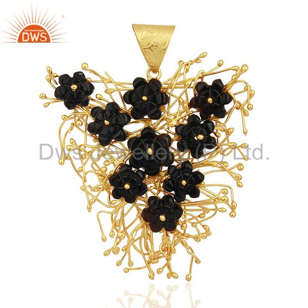 Black Onyx Carved One Kind Of Unique Gold Plated 92.5 Sterling Silver Pendent