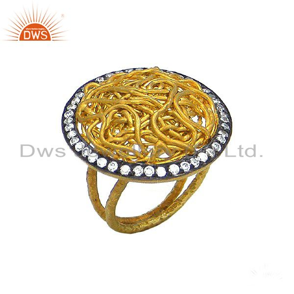 22K Yellow Gold Plated Sterling Silver Cubic Zirconia Woven Design Cocktail Ring