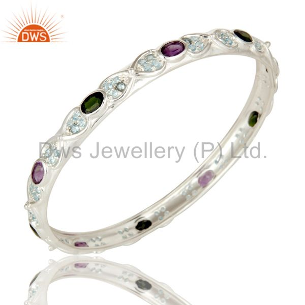 Designer Amethyst and Chrome Diopsite Sterling Silver Bangle With Blue Topaz