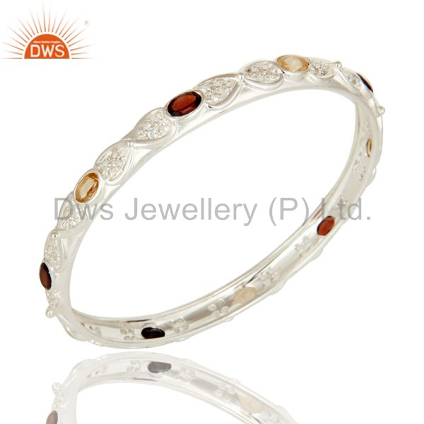Citrine And Garnet Gemstone Solid 925 Sterling Silver Bangle With White Topaz