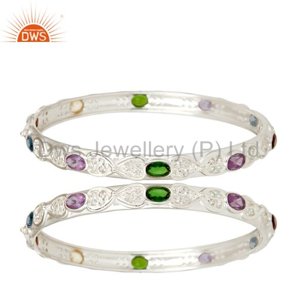 Chrome Diopsite, Amethyst and Multi Stone Colorful 925 Sterling Silver Bangle