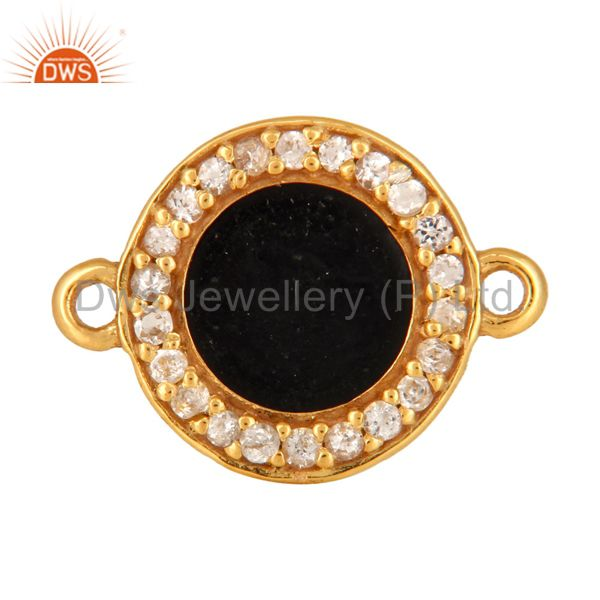 White Topaz Connector 14K Gold Plated Sterling Silver Black Enamel Findings