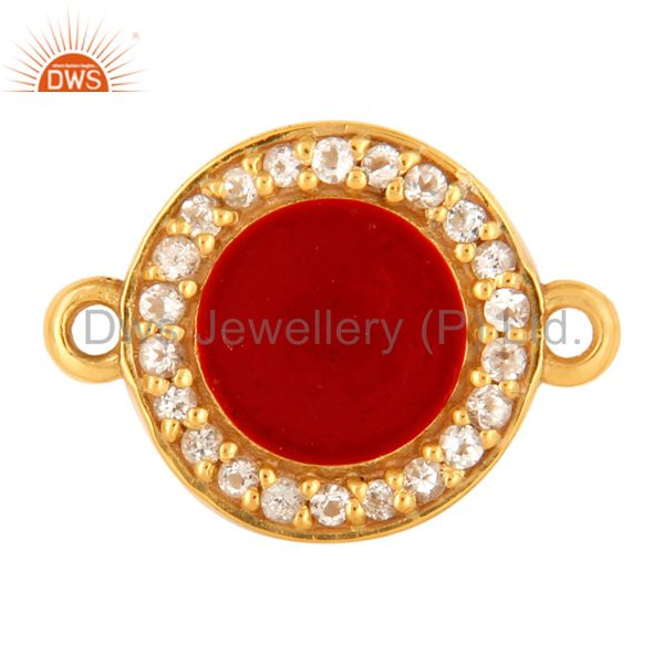 White Topaz Connector 14K Gold Plated Sterling Silver Red Enamel Findings