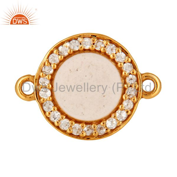 White Topaz Connector 14K Gold Plated Sterling Silver White Enamel Findings