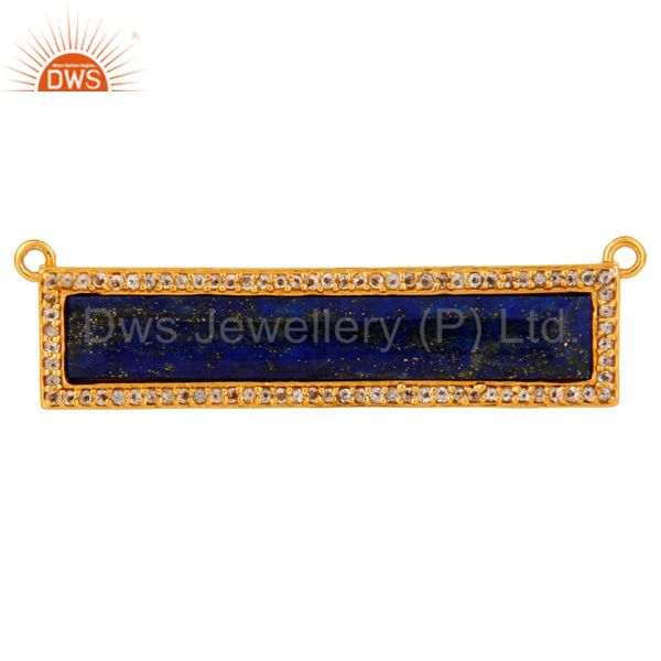 Lapis White Topaz Connector 14K Gold Plated Sterling Silver Jewelry Findings