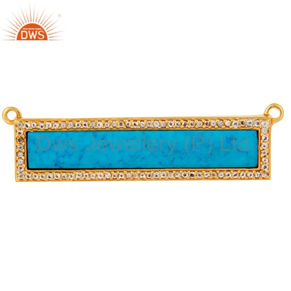 Turquoise White Topaz Connector 14K Gold Plated 925 Silver Jewelry Findings
