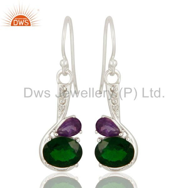 Amethyst & Chrome Diopside 925 Sterling Silver Fine Gemstone Earrings With Topaz