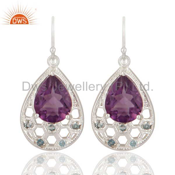 Natural Amethyst And Blue Topaz Sterling Silver Earrings - Gemstone Fine Jewelry