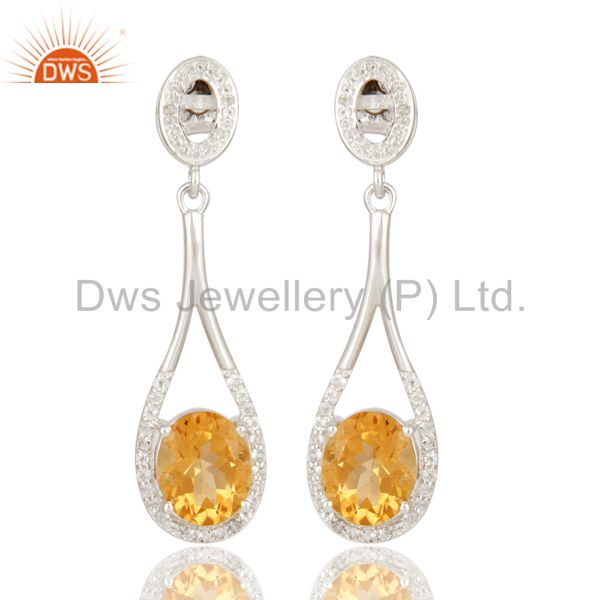 Oval Cut Natural Citrine Gemstone Sterling Silver Solitaire Earrings With Topaz