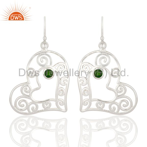 Natural Green Chrome Diopside 925 Sterling Silver Heart Design Dangle Earrings