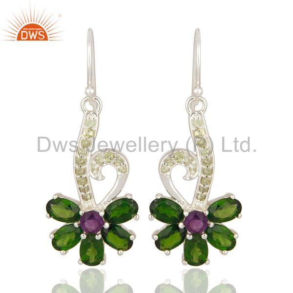 Natural Chrome Diopside, Peridot And Amethyst Sterling Silver Dangle Earrings