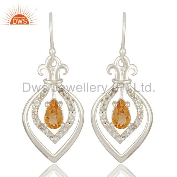 925 Sterling Silver Fleur De Lis Symbol Dangle Earrings With Citrine And Topaz