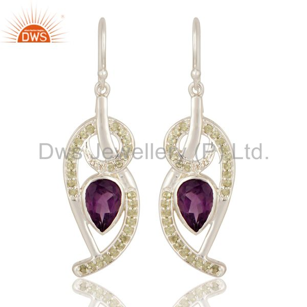 Unique Designs Natural Amethyst Gemstone Sterling Silver Earrings With Peridot