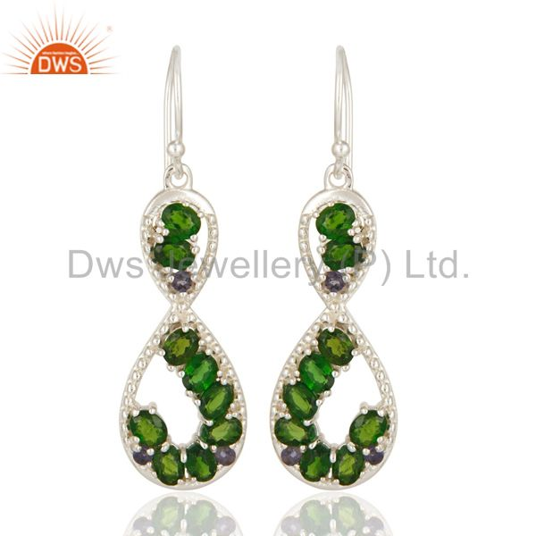 925 Sterling Silver Russian Chrome Diopside And Iolite Infinity Dangle Earrings