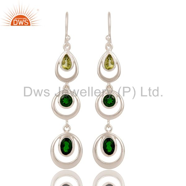 Chrome Diopsite and Peridot Sterling Silver Gemstone Dangle Earring
